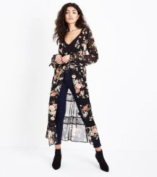 black-floral-print-chiffon-lace-trim-longline-cover-up