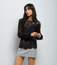 black-lace-balloon-sleeve-top