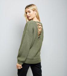 olive-green-lattice-back-ribbed-jumper