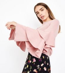 pink-tiered-sleeve-ribbed-jumper