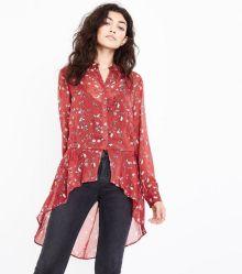rust-floral-print-chiffon-dip-hem-shirt