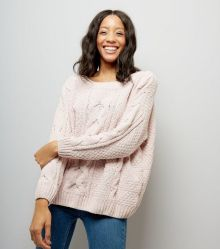 shell-pink-chenille-cable-knit-oversized-jumper