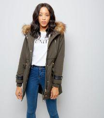 khaki-faux-fur-lined-leather-look-trim-parka