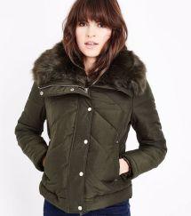 khaki-fur-collar-chevron-puffer-jacket